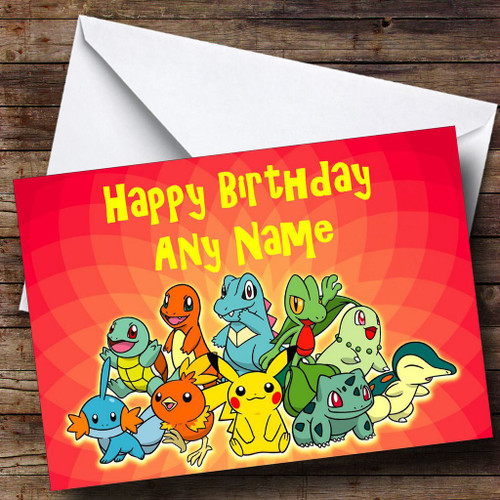 Red Pokemon Personalised Birthday Card The Card Zoo