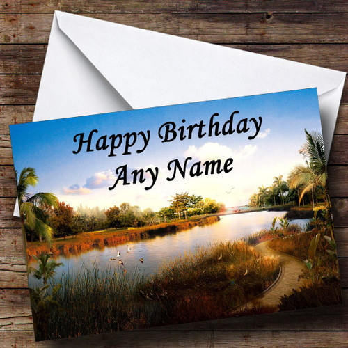 Personalised cards birthday cards flowers scenery nature river personalised birthday card m4hsunfo