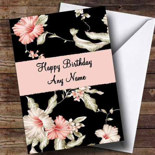 Stunning Black Vintage Floral Personalised Retirement Card The