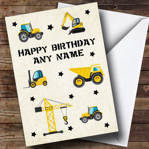 Digger Trucks Construction Cute Personalised Childrens Birthday