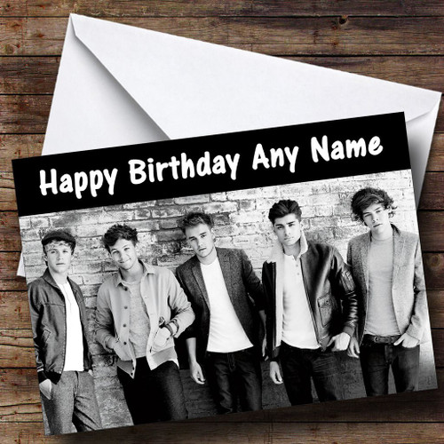 One direction personalised birthday card the card zoo black white one direction personalised birthday card bookmarktalkfo Gallery