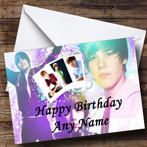 Personalised cards birthday cards celebrity tv music film purple justin bieber personalised birthday card m4hsunfo