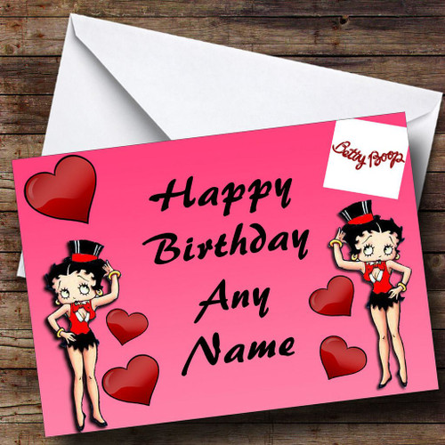 Pink Betty Boop Personalised Birthday Card The Card Zoo