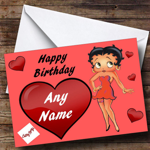 Betty Boop Heart Personalised Birthday Card The Card Zoo