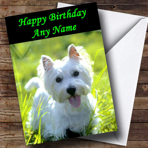 West Highland Terrier Puppy Dog Personalised Birthday Card The