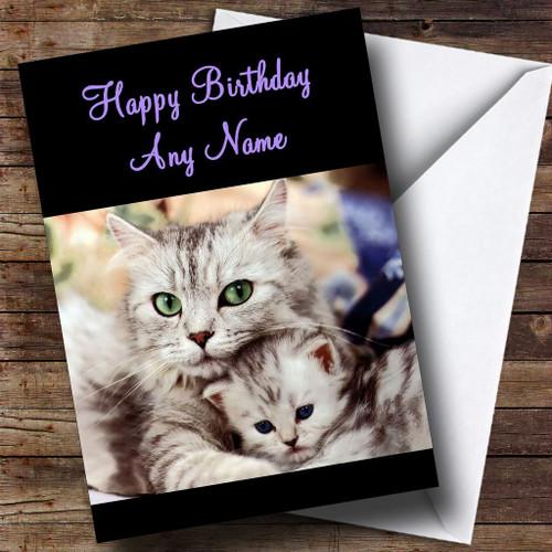 Kitten Kissing Mum Cat Personalised Birthday Card The Card Zoo