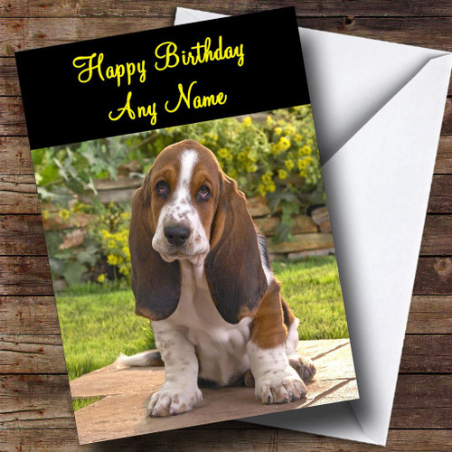 Basset hound dog personalised dinner table placemat the card zoo adorable basset hound dog personalised birthday card bookmarktalkfo Gallery