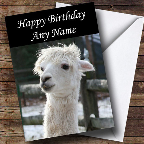Personalised cards birthday cards animals wildlife pets cards cute white alpaca personalised birthday card bookmarktalkfo Choice Image