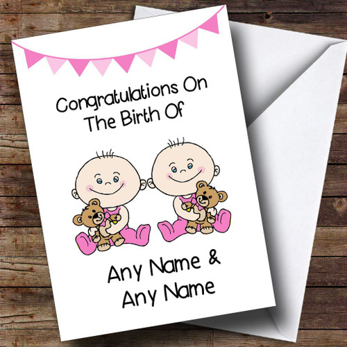Personalised cards new baby cards page 9 the card zoo new baby arrival baby girl twin daughters personalised new baby card m4hsunfo