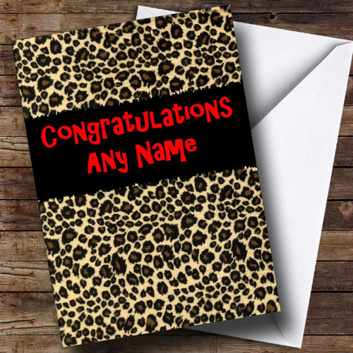 leopard print personalised congratulations card