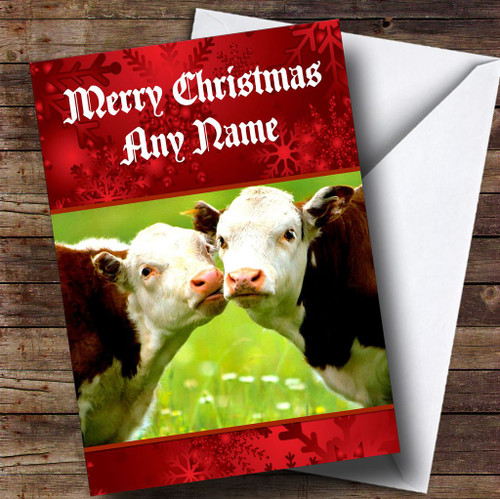 Personalised cards christmas cards romantic christmas cards cuddly cows romantic personalised christmas card m4hsunfo