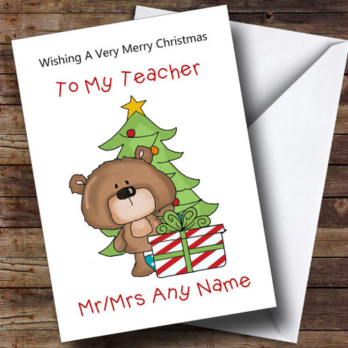teacher cartoon with present tree personalised christmas card