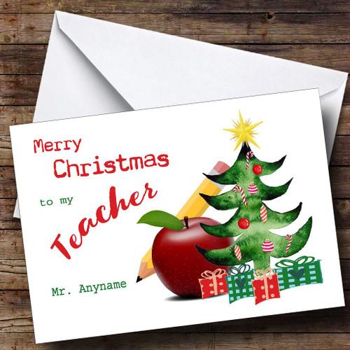 apple teacher personalised christmas card