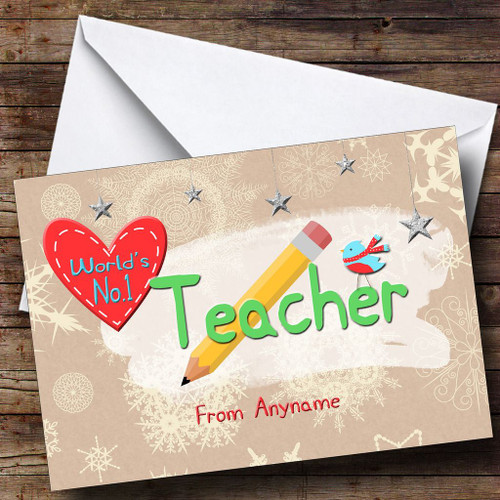 Personalised cards christmas cards christmas cards for teachers worlds number 1 teacher personalised christmas card colourmoves