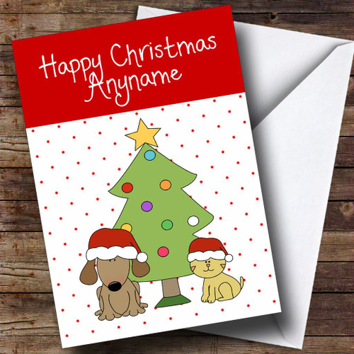 spotty dog cat tree childrens personalised christmas card