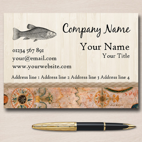 Vintage Nautical Fish Personalised Business Cards The Card Zoo