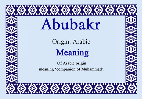 Abubakr Personalised Name Meaning Certificate - The Card Zoo