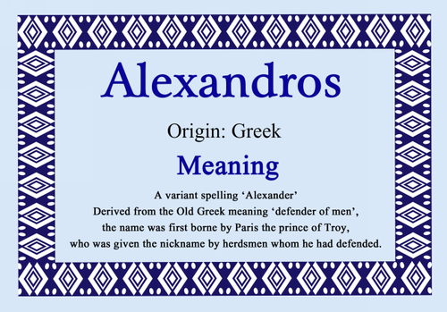 Alexandros Personalised Name Meaning Certificate - The Card Zoo