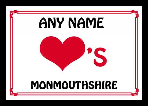 Love Heart Monmouthshire Personalised Placemat