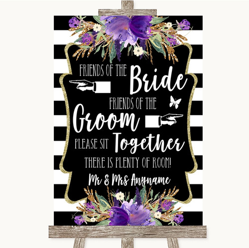 Black & White Stripes Purple Friends Of The Bride Groom Seating Wedding Sign
