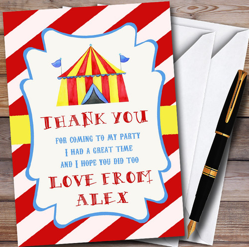 Red Stripes Circus Personalised Childrens Birthday Party Thank You