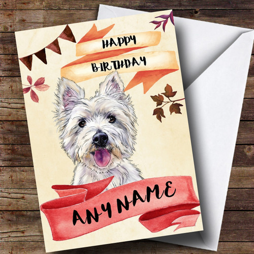 Watercolour Rustic Westie West Highland Terrier Dog Personalised