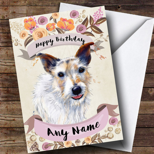 Rustic Gold Dog Jack Russell Personalised Cute Christmas Card The