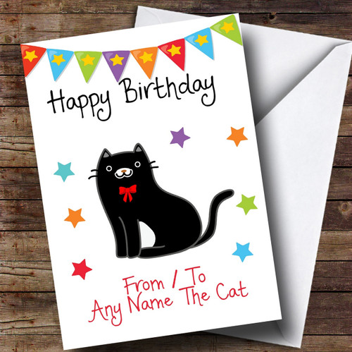 To From Cat Black White Personalised Birthday Card The Card Zoo