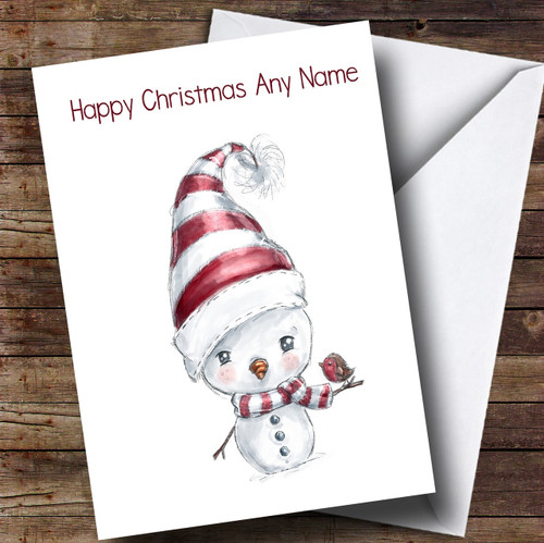 Personalised cards christmas cards cute christmas cards page 1 doodle white snowman robin personalised cute christmas card m4hsunfo