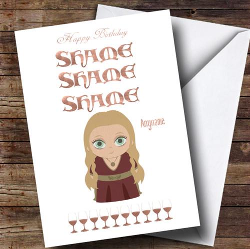 Got Cersi Wine Shame Game Of Thrones Birthday Personalised Card