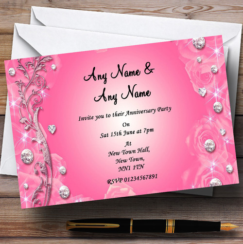 Personalised party invitations anniversary party invitations pretty pink diamond wedding anniversary party personalised invitations stopboris Choice Image