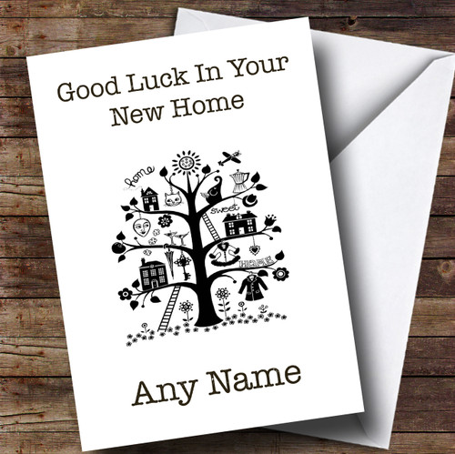 black white tree new home personalised card the card zoo