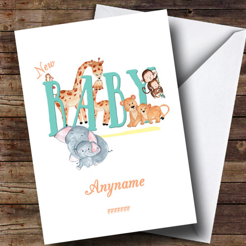 personalised baby zoo animal new baby card the card zoo