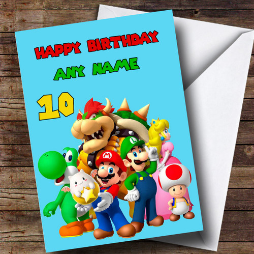 Personalised Red Super Mario Childrens Birthday Card The Card Zoo