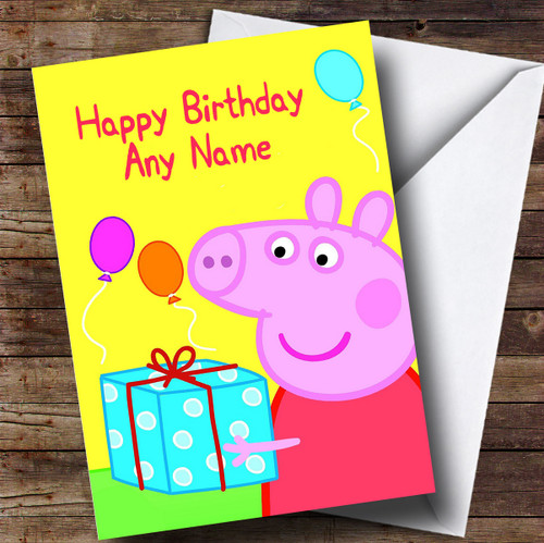 Personalised Peppa Pig Yellow Childrens Birthday Card The Card Zoo