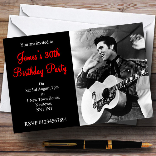 Elvis presley red personalised party thank you cards the card zoo elvis presley personalised party invitations filmwisefo
