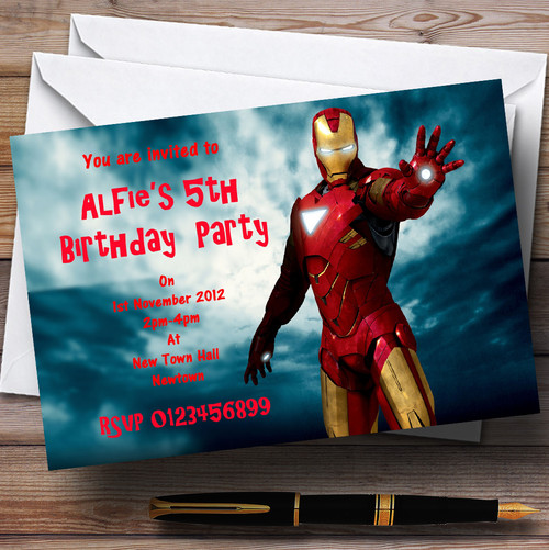 Iron man personalised childrens party invitations the card zoo iron man personalised childrens party invitations filmwisefo