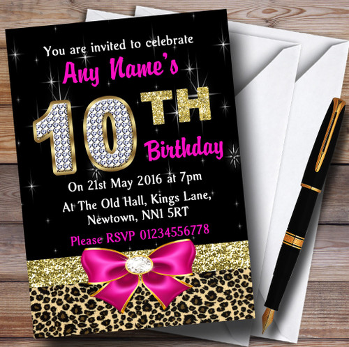 Personalised party invitations birthday party invitations pink diamond and leopard print 10th birthday party personalised invitations filmwisefo