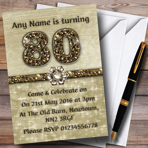 Personalised party invitations birthday party invitations titanium gold sparkly 80th personalised birthday party invitations filmwisefo
