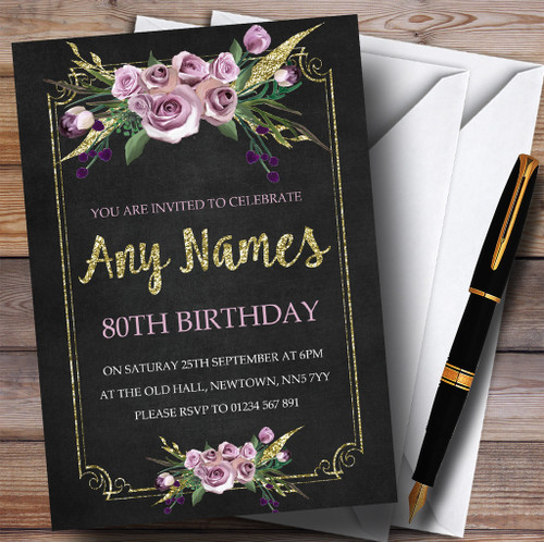 Personalised party invitations birthday party invitations chalk effect pink gold floral 80th personalised birthday party invitations filmwisefo