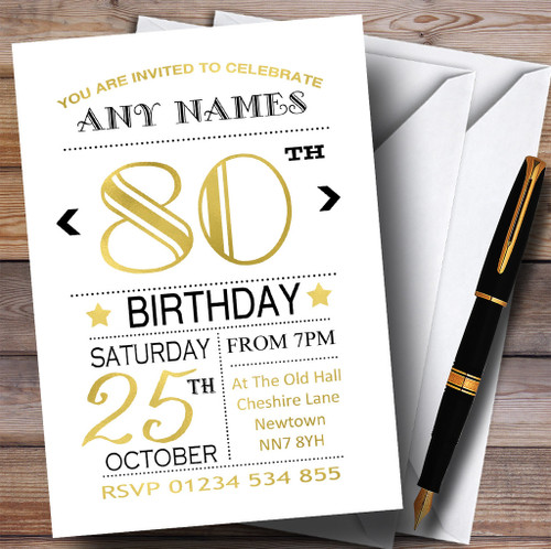 Personalised party invitations birthday party invitations white black gold 80th personalised birthday party invitations filmwisefo