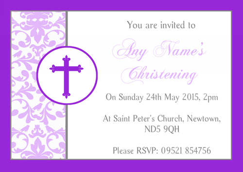 Purple Princess Crown White Christening Party Personalised Invitations