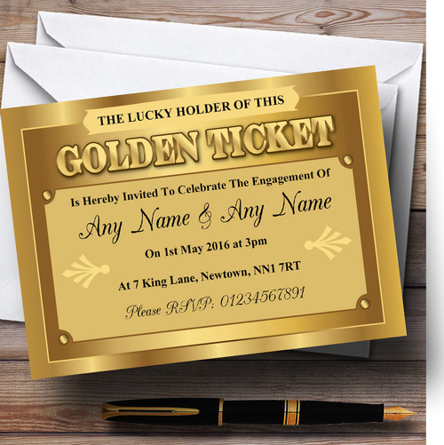 Personalised party invitations page 1 the card zoo golden ticket personalised engagement party invitations solutioingenieria Choice Image