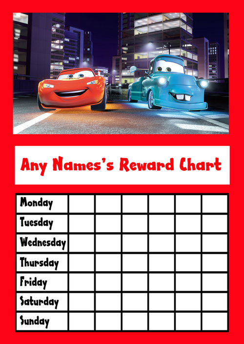 cars star sticker reward chart