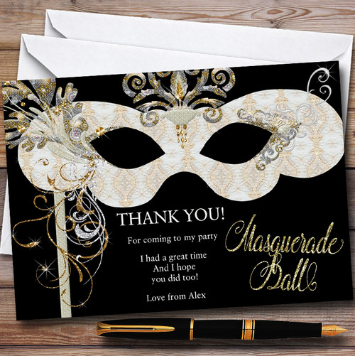 White Gold Masquerade Ball Personalised Party Thank You Cards