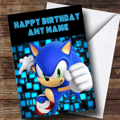 Personalised Black Sonic The Hedgehog Childrens Birthday Card The