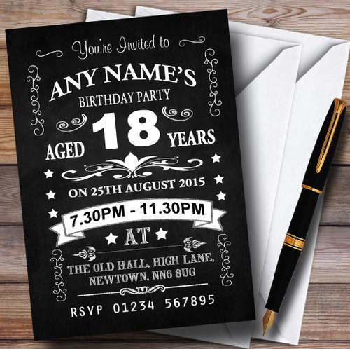 Vintage Invitation Card:  Vintage Chalkboard Style Black And White 18Th Birthday