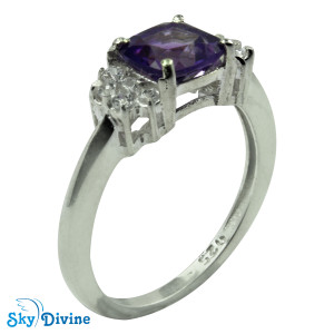 925 Sterling Silver amethyst Ring SDR2141 SkyDivine Jewellery RingSize 8 US