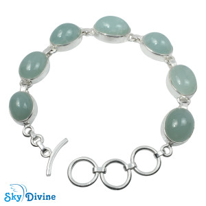 925 Sterling Silver Milky Aquamarine Bracelet SDBR2106 SkyDivine Jewelry