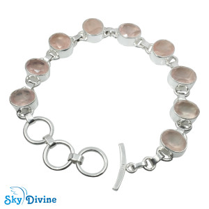 Sterling Silver Rose Quartz Bracelet SDBR2110 SkyDivine Jewelry